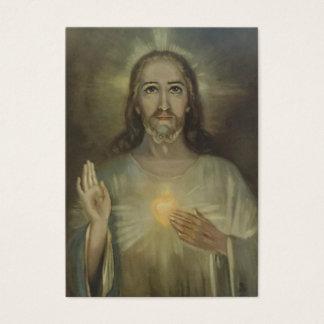 Cartão De Visitas Coração sagrado de Jesus w/prayer