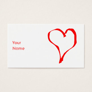 Cartão De Visitas Coração vermelho no branco