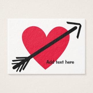 Cartão De Visitas Coração vermelho personalizado com dia dos