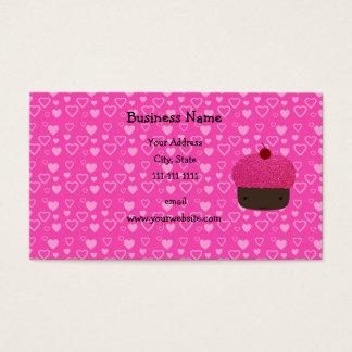 Cartão De Visitas Corações cor-de-rosa do rosa do cupcake do brilho