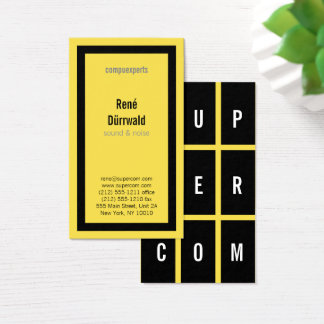 Cartão De Visitas CORAJOSO branco preto amarelo