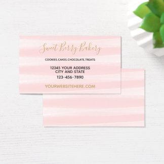 Cartão De Visitas Coram as listras cor-de-rosa