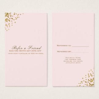 Cartão De Visitas Coram os cantos cor-de-rosa dos confetes do ouro