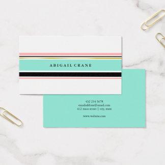 Cartão De Visitas Core & Mint as listras elegantes
