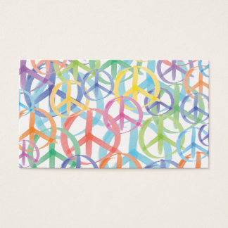 Cartão De Visitas Cores múltiplas de símbolos de paz