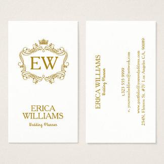 Cartão De Visitas Coroa do brilho do ouro & planejador floral do