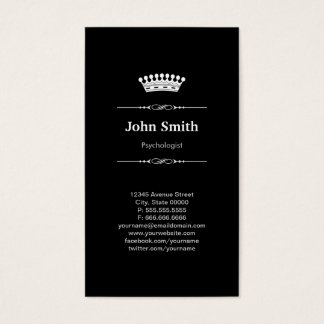 Cartão De Visitas Coroa real elegante simples do psicólogo