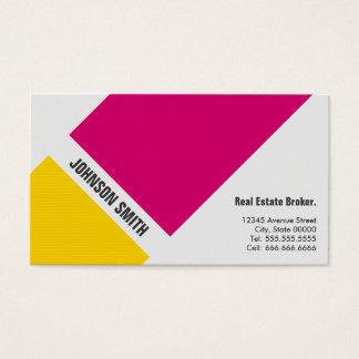 Cartão De Visitas Corretor imobiliário - amarelo cor-de-rosa simples