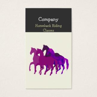 Cartão De Visitas Corrida de cavalos artística da aguarela roxa