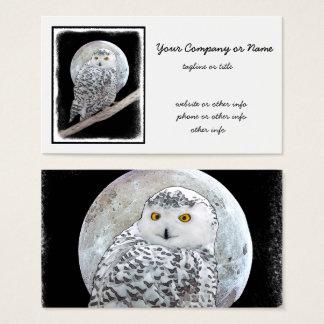 Cartão De Visitas Coruja nevado e lua