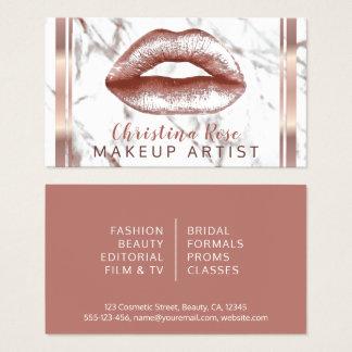 Cartão De Visitas Cosmetologist de mármore do maquilhador dos lábios