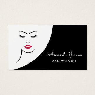 Cartão De Visitas Cosmetologist vermelho preto moderno dos lábios da