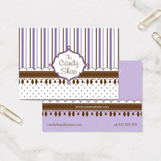 Cartão De Visitas Costume da lavanda da loja dos doces