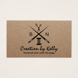 Cartão De Visitas Costureira Sewing Dressermaker Kraft rústico