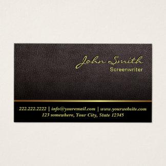 Cartão De Visitas Couro escuro elegante do guionista