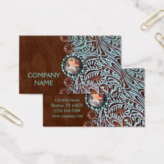Cartão De Visitas couro utilizado ferramentas marrom do país