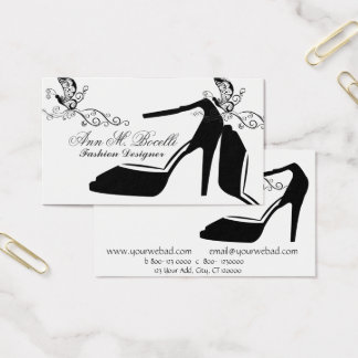 Cartão De Visitas Couture chique dos calçados da borboleta na moda