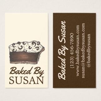 Cartão De Visitas Cozido pela fatia da torta de creme de chocolate