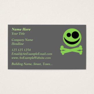 Cartão De Visitas Crânio e Crossbones. Verde e preto