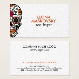 Cartão De Visitas Crânio floral colorido 3 do açúcar & fundo branco