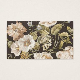 Cartão De Visitas Creme clássico de Brown escuro w e floral verde