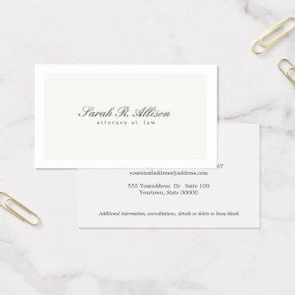 Cartão De Visitas Creme elegante simples do profissional do advogado
