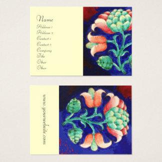 Cartão De Visitas Creme estilizado da flor da DECORAÇÃO FLORAL VERDE