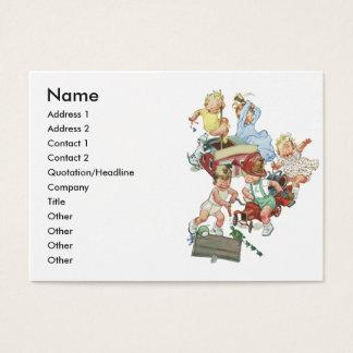 Cartão De Visitas Crianças das crianças do vintage que jogam com