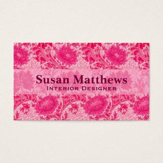 Cartão De Visitas Crisântemos de William Morris, rosa do fúcsia