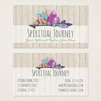 Cartão De Visitas Cristais & madeira boémios rústicos da aguarela da