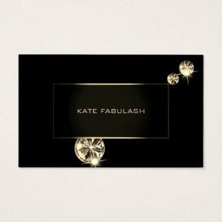 Cartão De Visitas Cristais pretos do estilista da forma do diamante