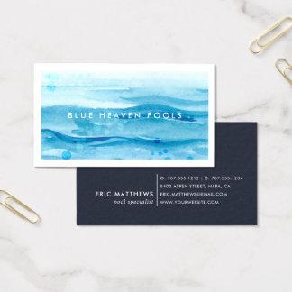 Cartão De Visitas Cuidado ou natação azul da piscina da ondinha  