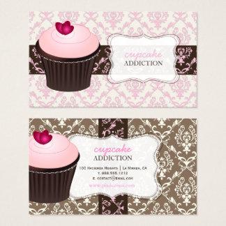 Cartão De Visitas Cupcake cor-de-rosa do coração de