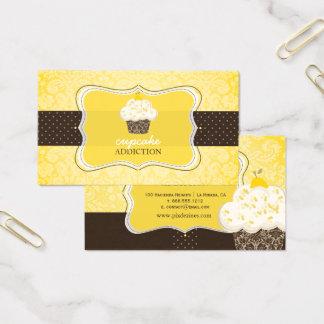 Cartão De Visitas Cupcake/pâtisserie do entusiasmo de limão de