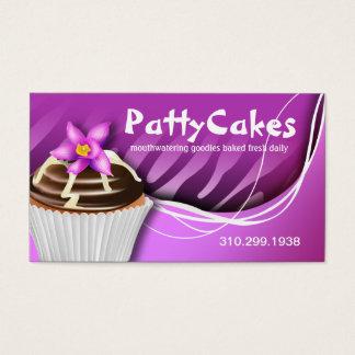 Cartão De Visitas Cupcakes do pop da zebra - roxo do ombre