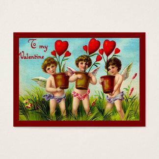 Cartão De Visitas Cupido dos namorados do vintage que guardaram