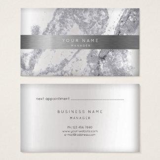 Cartão De Visitas Curso de mármore cinzento VIP do ouro 3D da prata