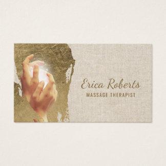 Cartão De Visitas Cursos curas do ouro de Reiki das mãos da terapia