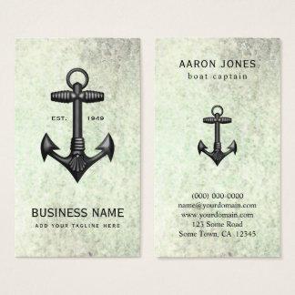 Cartão De Visitas Da âncora preta do ferro fundido do vintage barco
