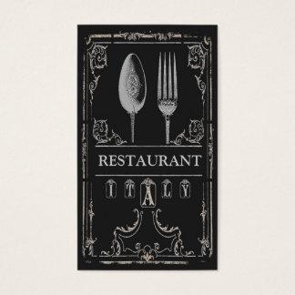 Cartão De Visitas Da forquilha ornamentado da colher do vintage