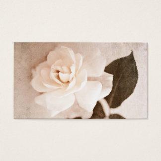 Cartão De Visitas Da haste cor-de-rosa da flor do Sepia do vintage