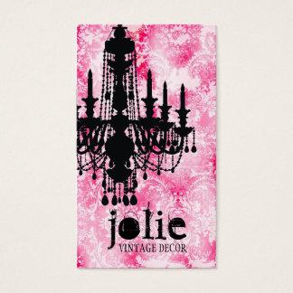 Cartão De Visitas Damasco cor-de-rosa branco do candelabro de Jolie