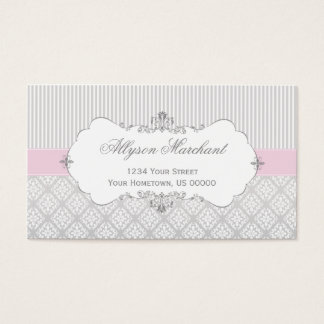 Cartão De Visitas Damasco elegante e listras do branco cinzento do