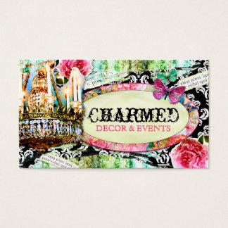 Cartão De Visitas Damasco gasto do preto do encanto do vintage do GC
