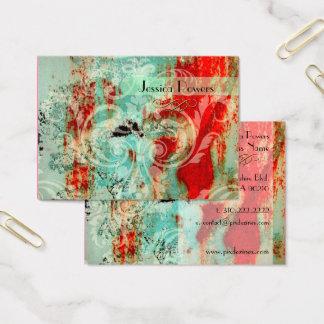 Cartão De Visitas Damasco no modelo abstrato, carmesim da cerceta