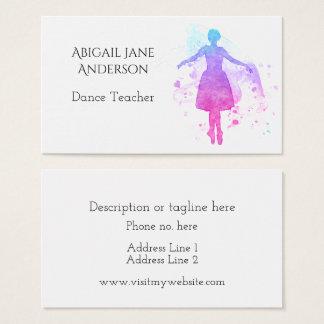 Cartão De Visitas Dançarino de balé da aguarela - fácil personalizar