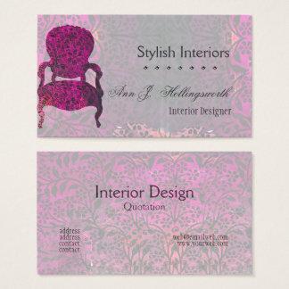 Cartão De Visitas Decoração roxa do interior do modelo da cadeira