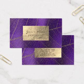 Cartão De Visitas Delicado botânico Amethyst roxo da folha de ouro