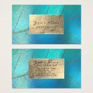 Cartão De Visitas Delicado botânico da folha do Sepia do Aqua de