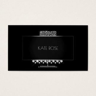 Cartão De Visitas Desenhista de prata preto de cristal do bolo dos